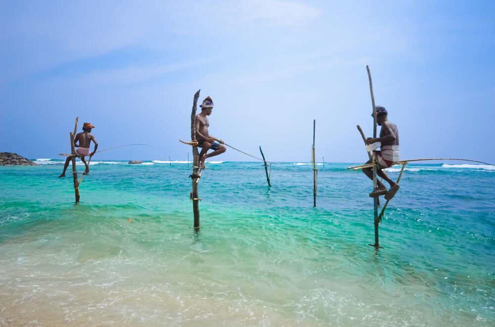 stilt_fishermen Sri Lanka, India.